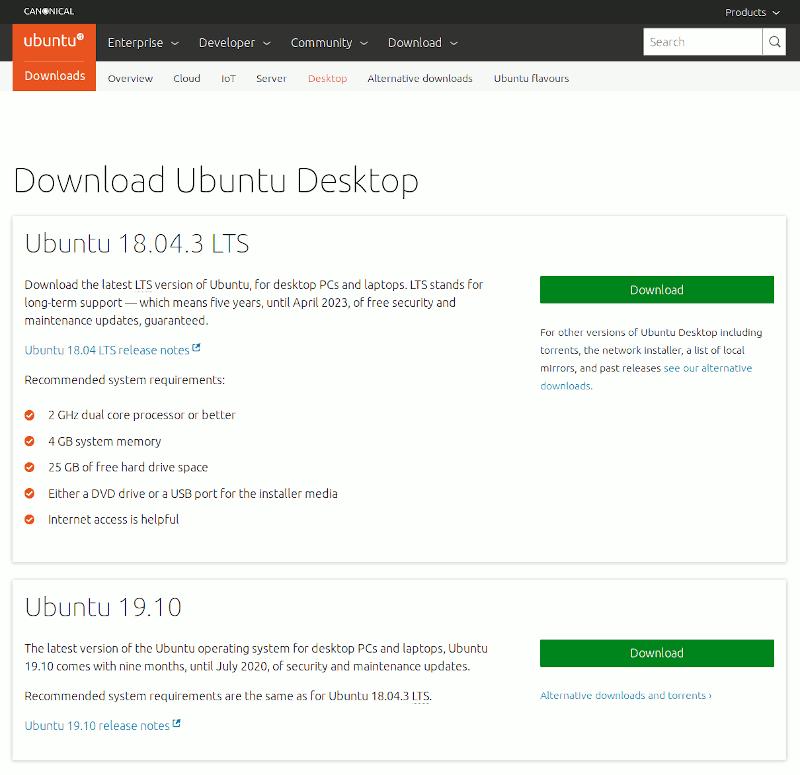 Download Ubuntu ISO page