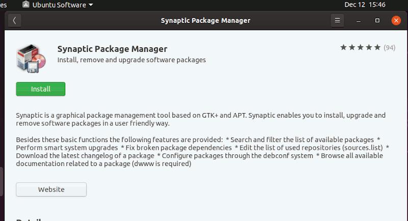 Ubuntu Software Install Synaptic
