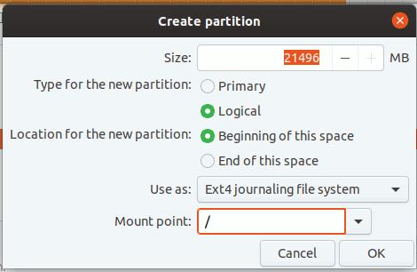 Windows Install Ubuntu Create Partition