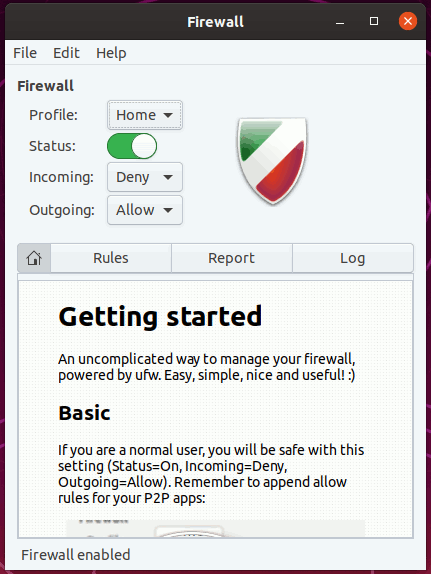 Gufw Firewall Enabled