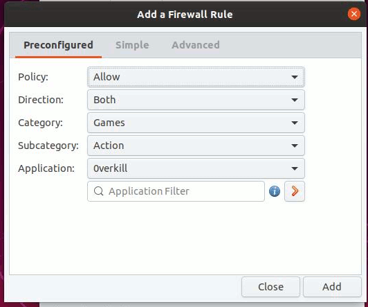 Gufw Firewall Preconfigured Rules