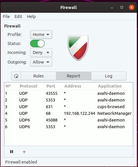 Gufw Firewall Report Tab